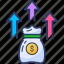 finance, fund, growing, investment, money, raise, saving icon icon