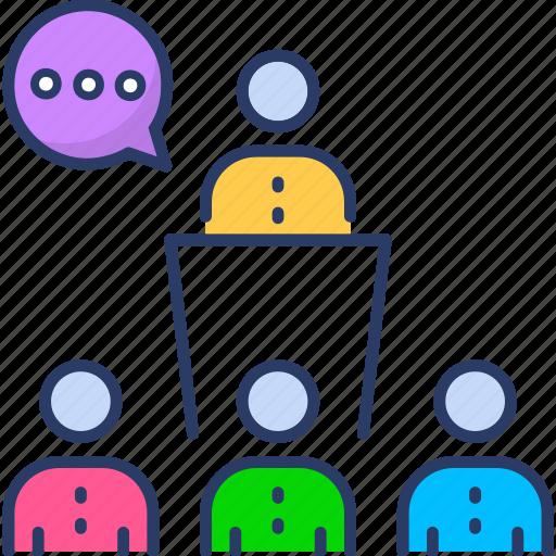 business, discussion, ducation, group icon, presentation, seminar, webinar icon