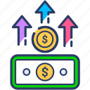 coins, growth, income, increase, money, note icon, profit icon