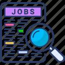 cv, employment, job, job search, magnifier, recruitment icon, search icon