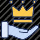 adulation, crown, hand icon, premium service, quality, reliability, satisfaction
