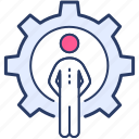 construction, construction worker, gear icon, supervisor, worker icon