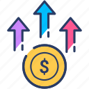 coins, dollar, earnings, growth, income icon, profit icon