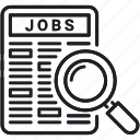 cv, employment, job, job search, magnifier, recruitment icon, search