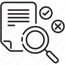 amendment, correction, improvement, magnifier icon, proofreading, searching, sheet icon