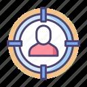 goal, headhunter, headhunting, shortlisted, target, target audience, target market icon