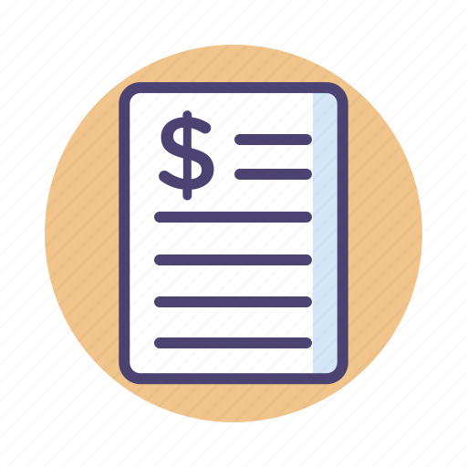 accounting, bill, document, financial, invoice, receipt, tax icon