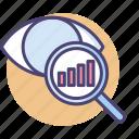 analytics, data, market, market data, market research icon