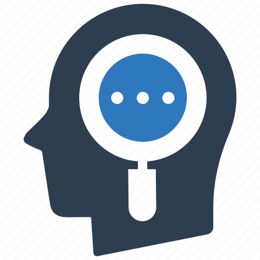 head, magnifying glass, mind, search icon