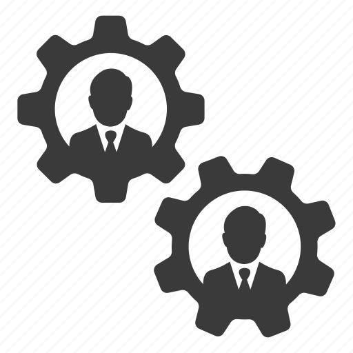 business, businessmen, cogs, gears, settings, teamwork, users icon