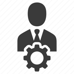avatar, business, businessman, cog, gear, manager, user icon