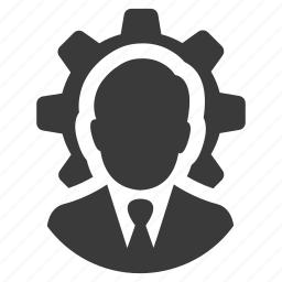 avatar, businessman, cog, control, gear, manager, user icon