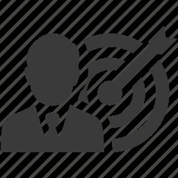 bullseye, business, businessman, goal, success, target icon