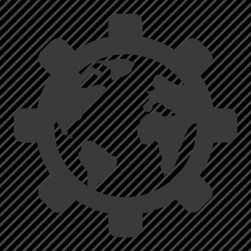 cog, earth, gear, globe, settings, web icon