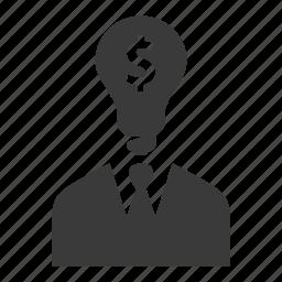 bulb, businessman, idea, man, opportunity, user icon