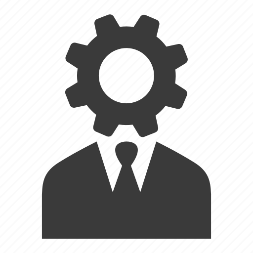 businessman, cog, control, gear, manager, user icon
