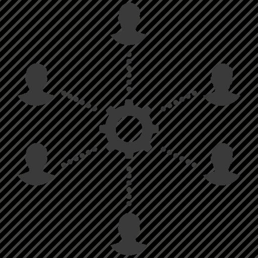 cog, community, gear, group, people, team, teamwork, users icon