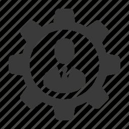 avatar, cog, configure, control, gear, man, setting, user icon