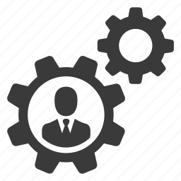 avatar, cogs, control, gears, man, settings, user icon