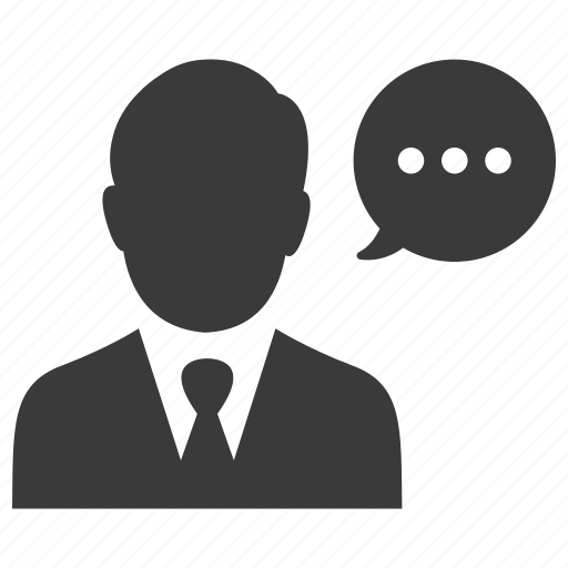 business, businessman, comment, man, message, speech, talk icon