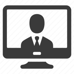 business, businessman, computer, monitor, pc, screen, user icon