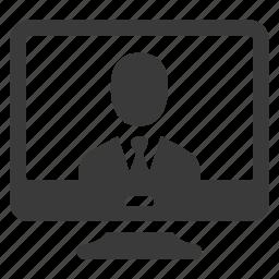 business, businessman, computer, monitor, pc, screen, user icon