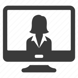 business, computer, monitor, pc, screen, user, woman icon