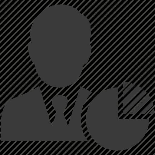 businessman, chart, graph, marketing, pie, presentation, share icon