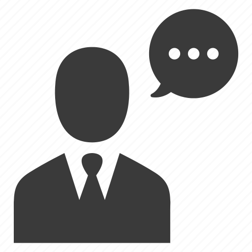 businessman, communication, message, speech, talk icon