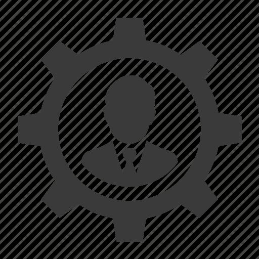 account, business, configure, control, gear, person, user icon