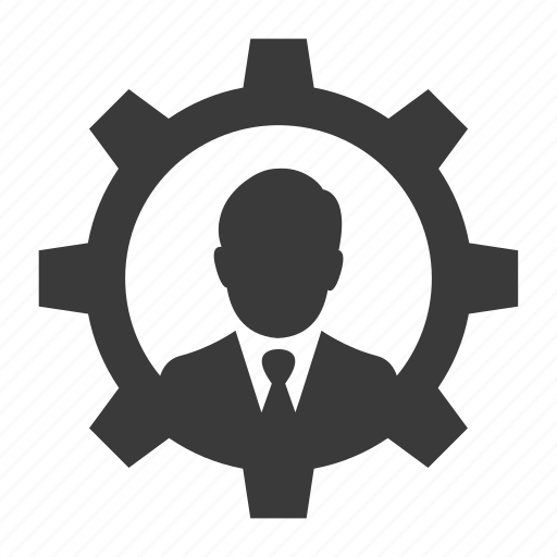 business, configure, control, gear, man, person, user icon