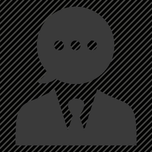 comment, communication, man, message, speech, talk icon