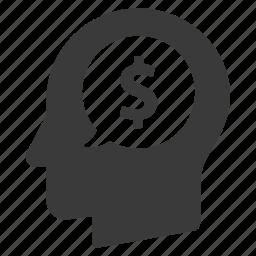 business, dollar, finance, head, idea, money, opportunity icon