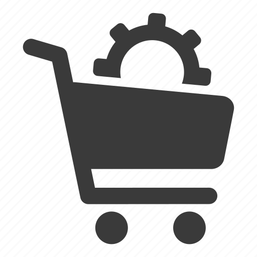 cart, gear, options, settings, shopping icon