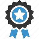achievement, award, medal, premium, quality, reward, star icon