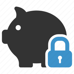 bank, banking, lock, money, piggy, safe, secure icon