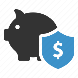 bank, banking, money, piggy, safe, secure, shield icon