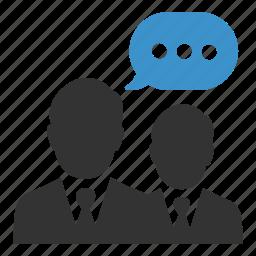 businessmen, comment, conversation, interview, meeting, speech, talk icon