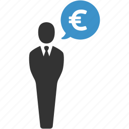 businessman, earnings, euro, finance, funding, income, money icon