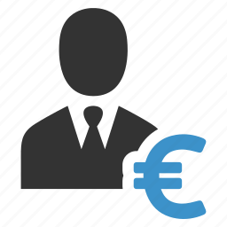 account, businessman, earnings, euro, finance, income, profit icon