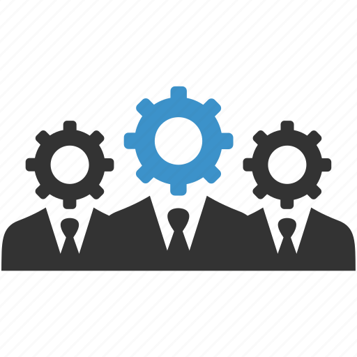 Management, productivity, people, cogs, support, gears, progress icon