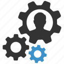 cog, gears, management, productivity, profile, settings, user icon