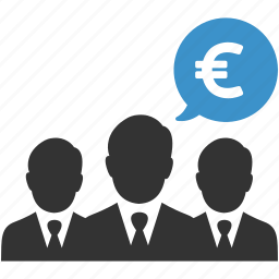 business, businessmen, earnings, euro, negotiations, people, sales icon