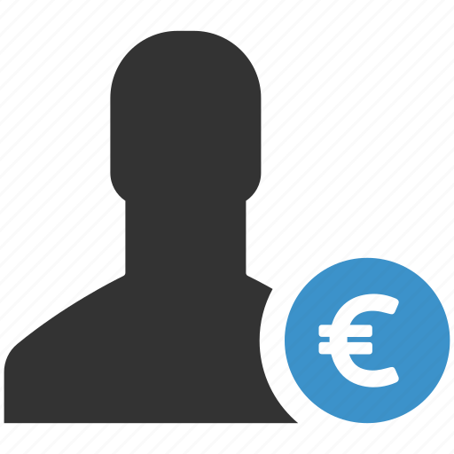account, earnings, euro, funds, income, money, user icon