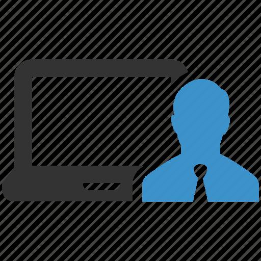 account, businessman, computer, device, log in, person, profile icon