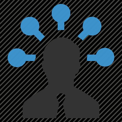 brainstorming, businessman, marketing, nodes, planning, strategy icon