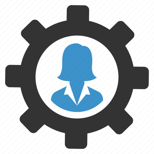 avatar, businesswoman, gear, management, person, profile, support icon