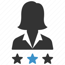 badges, business, person, rating, stars, votes, woman icon