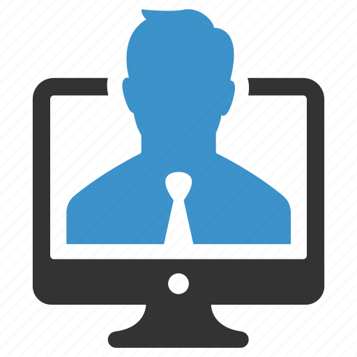 account, businessman, computer, device, log in, person, profile icon