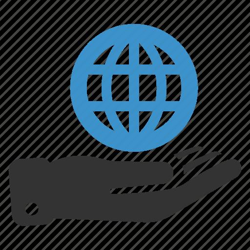 earth, global, globe, hand, international, investment, web icon